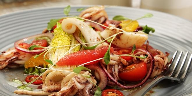 Summer Salad of Local Squid, Guacamole, Citrus & Chilli